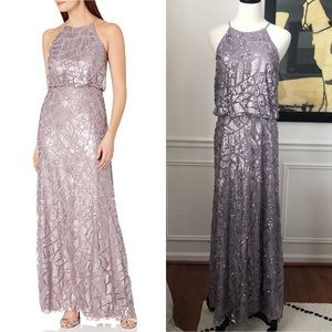 Donna Morgan Tiffany Beaded Paillette Halter Gown